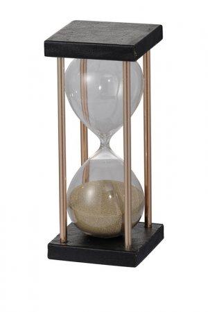 Песочные часы 8x8x19 см ГЛАСАР. Цвет: черный, прозрачный, золотой