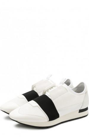 Комбинированные кроссовки Race на шнуровке Balenciaga. Цвет: белый