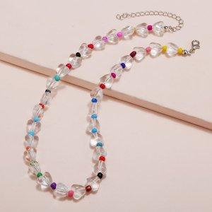 Ожерелье прозрачный из бусин SHEIN. Цвет: многоцветный