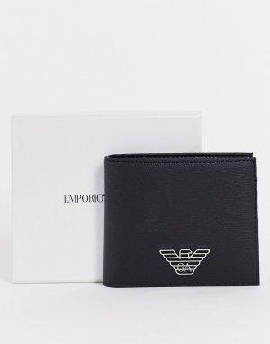 Черный складной бумажник с логотипом-орлом -Черный цвет Emporio Armani