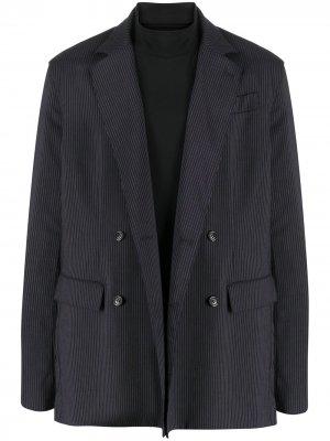 Многослойный двубортный пиджак в тонкую полоску Opening Ceremony. Цвет: синий