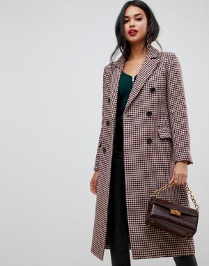 Двубортное пальто макси в клетку Morgan. Цвет: мульти