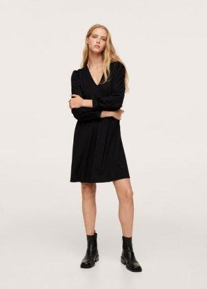 Короткое платье с рукавами-фонариками - Burti Mango. Цвет: черный