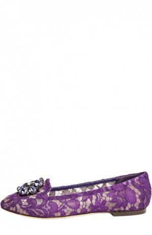 Текстильные слиперы Rainbow Lace Dolce & Gabbana. Цвет: фиолетовый