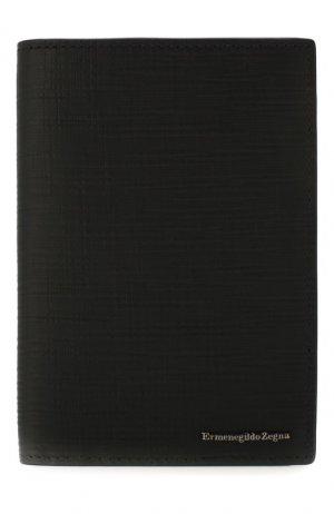 Кожаная обложка для паспорта Ermenegildo Zegna. Цвет: чёрный