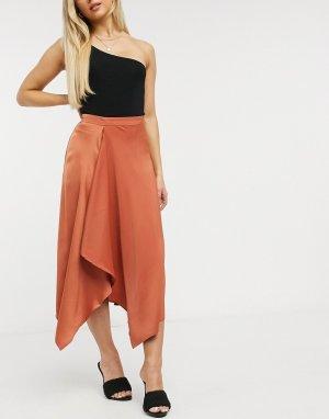 Атласная асимметричная юбка миди рыжего цвета -Коричневый Y.A.S