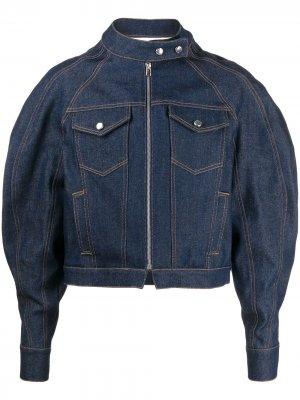 Джинсовая куртка с пышными рукавами Eckhaus Latta. Цвет: синий