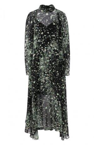Шелковое платье Givenchy. Цвет: зеленый