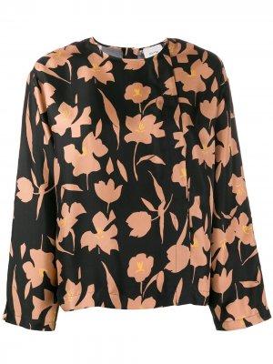 Блузка свободного кроя с цветочным принтом Alysi. Цвет: черный