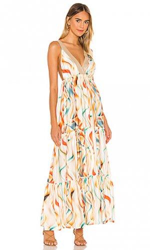 Макси платье las flores Le Superbe. Цвет: белый