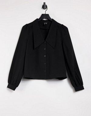 Черная рубашка с большим воротником и рукавами 3/4 -Черный цвет Vero Moda