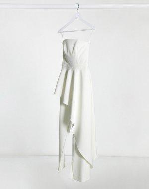 Комбинезон цвета слоновой кости с оборкой -Белый AQAQ
