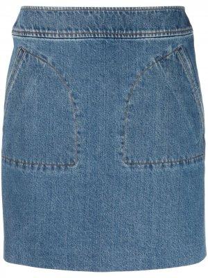 Джинсовая юбка прямого кроя A.P.C.. Цвет: синий