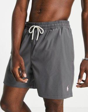Серые шорты для плавания с логотипом traveller-Серый Polo Ralph Lauren
