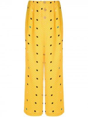 Широкие брюки Gravataria Boca Eva. Цвет: желтый