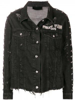 Джинсовая куртка с рваными деталями Philipp Plein. Цвет: черный