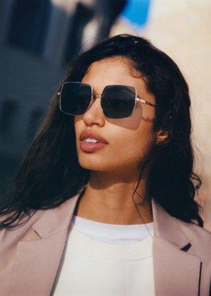 Солнцезащитные очки в квадратной оправе - Alex Mango. Цвет: золото