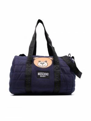 Teddy Bear-print changing bag Moschino Kids. Цвет: синий