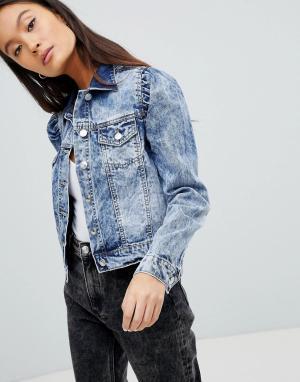 Джинсовая куртка с эффектом кислотной стирки Parisian. Цвет: синий
