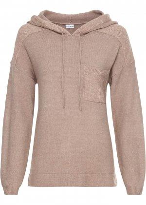 Пуловер с пайетками bonprix. Цвет: бежевый