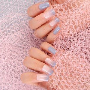 24шт Накладные ногти и 1 лист лента пилочка для ногтей SHEIN. Цвет: нежно-голубой