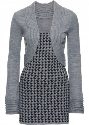 Пуловер с имитацией жакета болеро bonprix. Цвет: серый