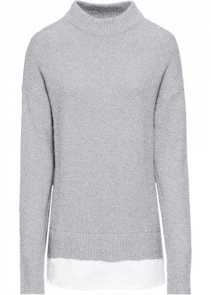 Пуловер 2 в 1 bonprix. Цвет: серый
