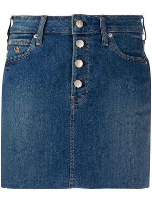Джинсовая юбка с бахромой Calvin Klein Jeans. Цвет: синий