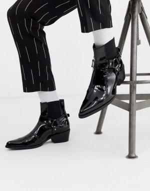 Черные лакированные ботинки челси на кубинском каблуке с пряжками -Черный ASOS DESIGN