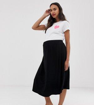 Короткая расклешенная юбка миди ASOS DESIGN Maternity-Черный Maternity
