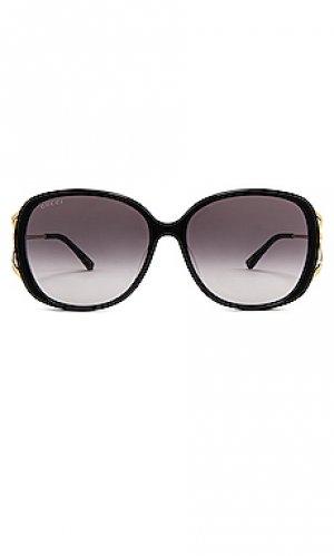 Солнцезащитные очки square fork Gucci. Цвет: черный