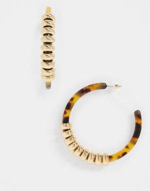 Черепаховые серьги-кольца с золотистыми звеньями -Золотой ASOS DESIGN