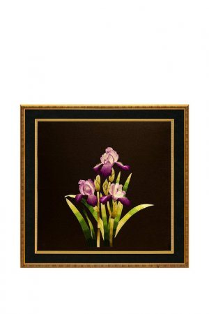 Картина Ирисы в ночи Живой шелк. Цвет: фиолетовый, зеленый