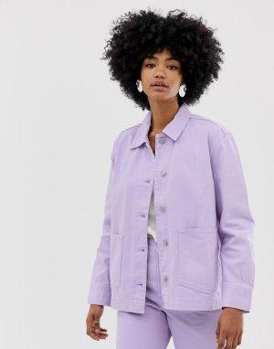 Сиреневая джинсовая куртка worker-Фиолетовый Weekday