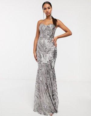Платье-бандо макси с отделкой пайетками в стиле барокко -Серебряный Club L London