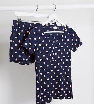 Темно-синяя пижама для кормления в горошек Mamalicious Maternity-Мульти Mama.licious