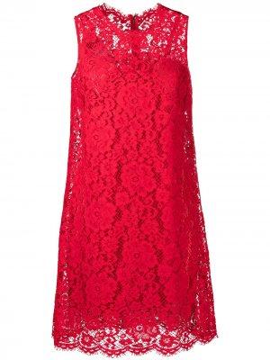 Кружевное платье мини без рукавов Dolce & Gabbana. Цвет: красный