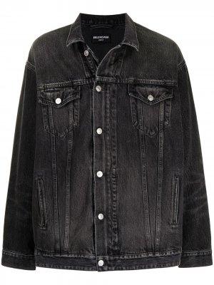Джинсовая куртка на молнии Balenciaga. Цвет: черный