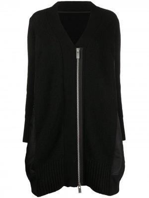 Длинная куртка-бомбер с контрастными вставками Sacai. Цвет: черный