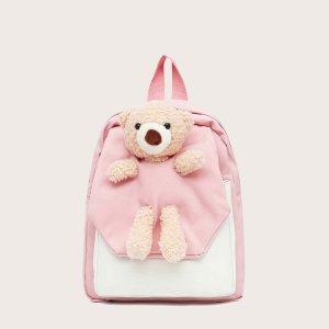 Для девочек Рюкзак двухцветный с куклой SHEIN. Цвет: розовые
