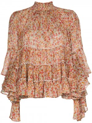 Шифоновая блузка с цветочным принтом и складками byTiMo. Цвет: оранжевый