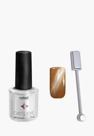 Набор для ухода за ногтями Runail Professional магнит и Гель-лак Cat's eye серебристый блик, цвет: Анатолийская кошка. Цвет: коричневый