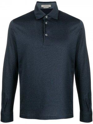 Рубашка поло тонкой вязки с длинными рукавами Corneliani. Цвет: синий