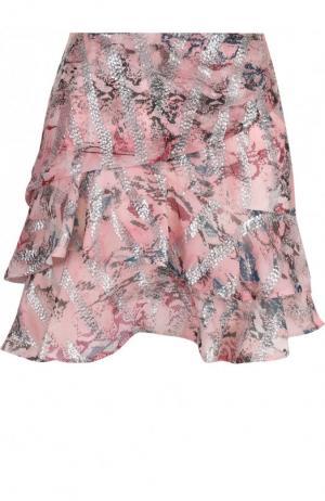 Мини-юбка с оборками и принтом Iro. Цвет: светло-розовый