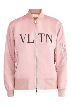 Розовый бомбер с логотипом Valentino. Цвет: розовый