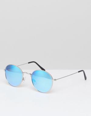 Солнцезащитные очки-авиаторы в металлической оправе River Island. Цвет: серебряный