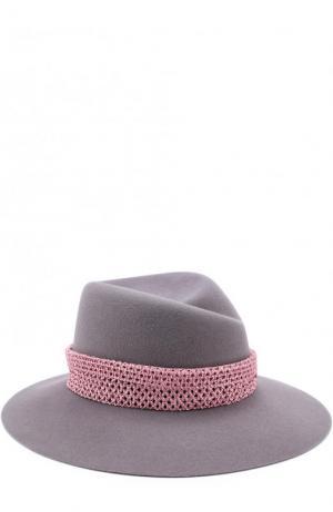 Фетровая шляпа Virginie с декоративной лентой Maison Michel. Цвет: серый