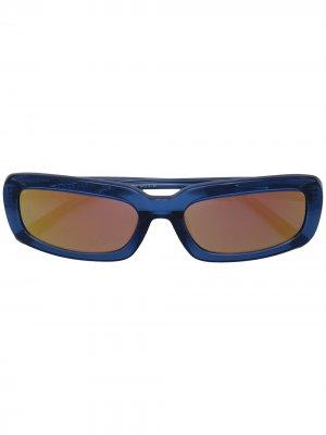 Солнцезащитные очки в прямоугольной оправе Linda Farrow. Цвет: синий
