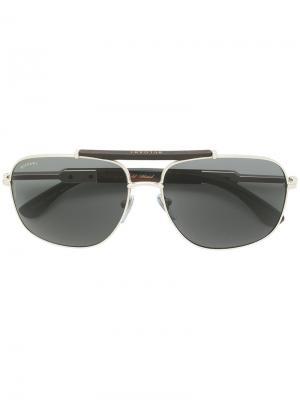 Солнцезащитные очки в квадратной оправе Bulgari. Цвет: металлик