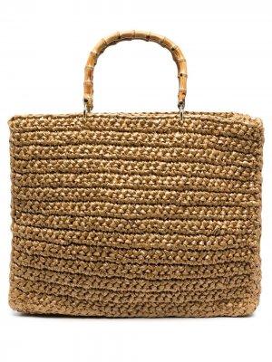 Большая плетеная сумка-тоут Chica. Цвет: коричневый